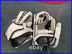 $450 Brians Alite Senior Ice hockey Goalie Glove Blocker Set White Black
