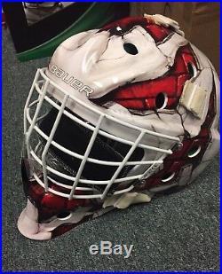 Bauer S17 NME 4 Wall Ice Hockey SR Goalie Mask! Helmet Red Blue Senior NME4