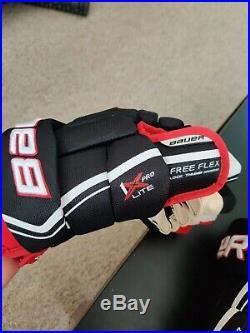 Bauer Vapor 1X Lite Pro Ice Hockey Gloves Black/Red/White Senior Size 13