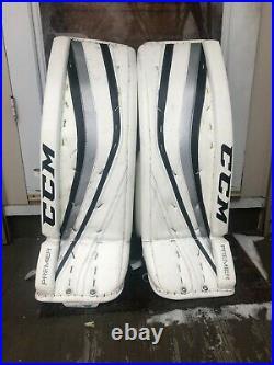 CCM Premier Pro Senior Ice Hockey Goalie leg pads 34+2 White/Black/Silver