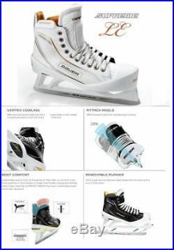 New Bauer One100LE Ice Hockey Goalie skates size 7.5EE Senior white/gold men SR