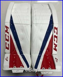 New CCM Extreme Flex E3.9 senior goalie leg pads 33+2 Sr ice hockey Wt/Blue/Red