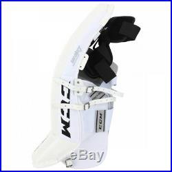 New CCM Premier Pro Senior Ice Hockey Goalie leg pads 34+2 All White sr Goal wt