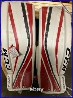 New CCM Premier Pro Senior Ice Hockey Goalie leg pads 34+2 White/Red/Black
