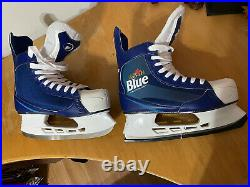 New Labatt Blue Alcohol Ice Hockey Skates White And Blue Size 10 CCM Beer League