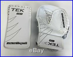 New Powertek Barikad Senior Ice Hockey Goalie Blocker Catcher Set White glove sr
