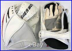 New Sherwood T95 D3 Goalie Blocker Catcher Set Senior Reg Hand White/Black/Red