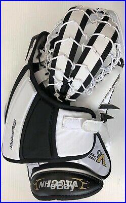New Vaughn V6 1100 Pro Senior Ice Hockey Goalie Catcher White Black glove goal