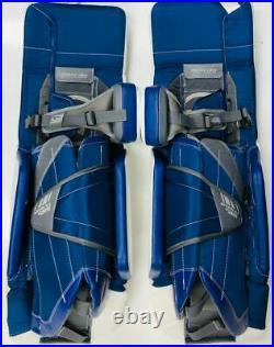 New Warrior G3 Classic Pro Senior Hockey Goalie Leg Pads size 34+1.5 White Blue