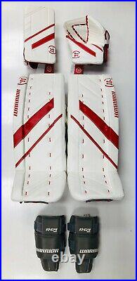 New Warrior G4 Pro Senior Hockey Goalie Blocker Catcher Leg Pads Set size 33+1.5