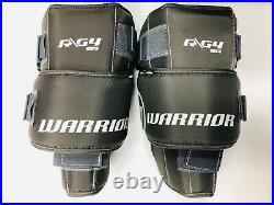 New Warrior G4 Pro Senior Hockey Goalie Leg Pads size 32+1.5 All Black SR pad