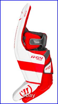 New Warrior G4 Pro Senior Hockey Goalie Leg Pads size 33+1.5 White/Red SR pad