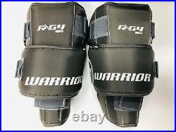 New Warrior G4 Pro Senior Hockey Goalie Leg Pads size 35+1.5 All White SR pad