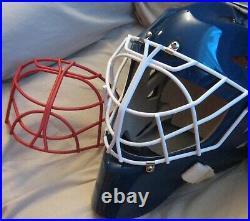 OTNY X1 Pro Hockey Goalie Mask Senior Large Blue Open Mouth Cage