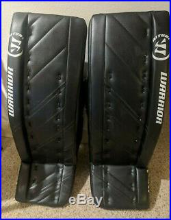 SLIGHTLY USED Warrior G4 Ice Hockey Goalie Pads Senior 34 + 1.5 stock Black