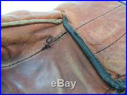 Vintage Brown Ice Hockey Gloves Real Leather Cross Country Senior 1950's