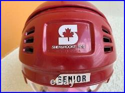 Vintage Red Ice Hockey Helmet Sherbrooke 1475 Large Senior Made In Canada Rare