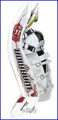 Warrior Messiah Pro Sr goalie leg pads white/black/silver 34+2 ice hockey senior
